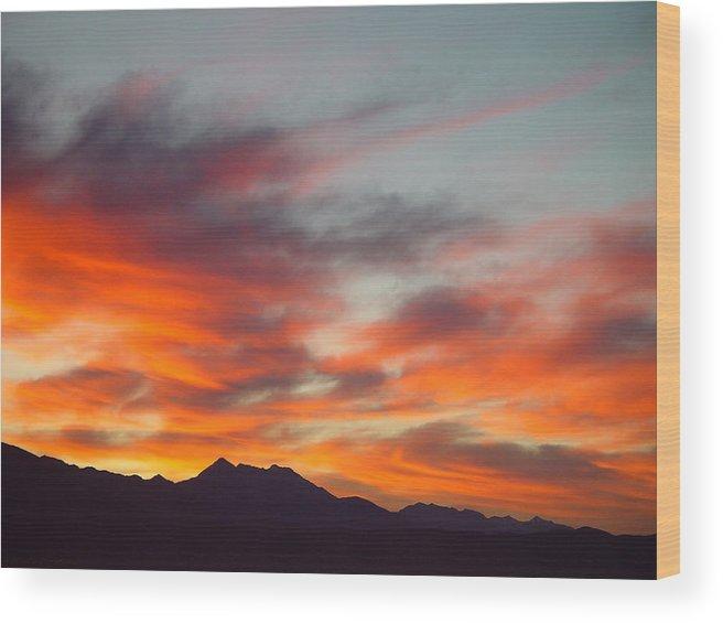 Sunrise Wood Print featuring the painting Timponogos Sunrise by Derek Nielsen
