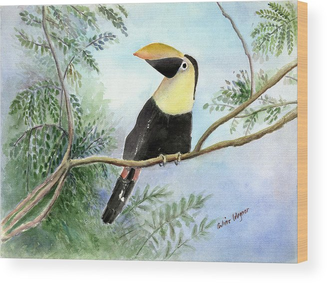 Toucan Wood Print featuring the painting Toucan by Arline Wagner