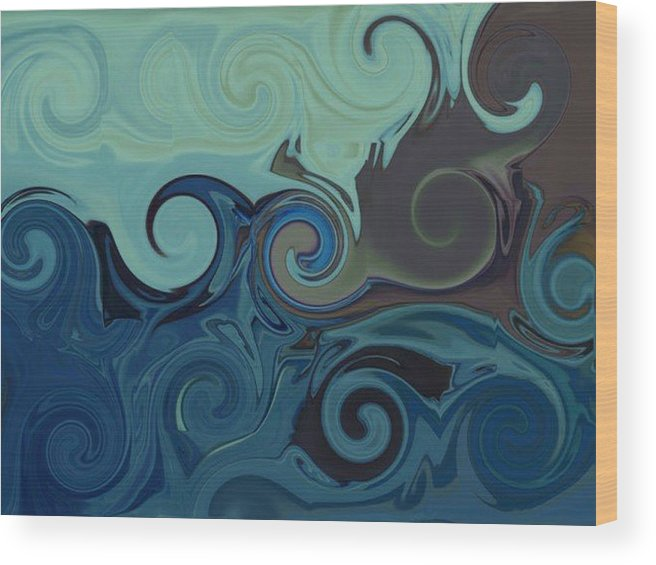 Ocean Wood Print featuring the digital art Trippy by Melanie Plummer