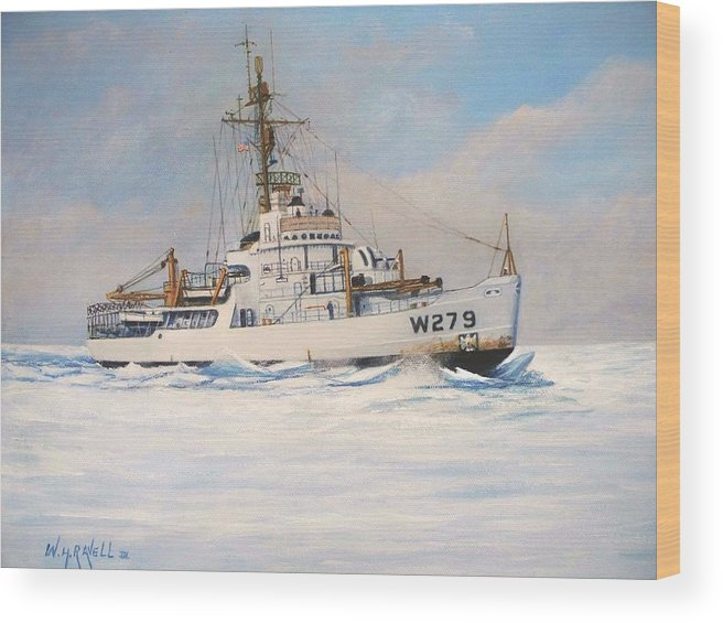 Marine Art Wood Print featuring the painting United States Coast Guard Icebreaker Eastwind by William H RaVell III