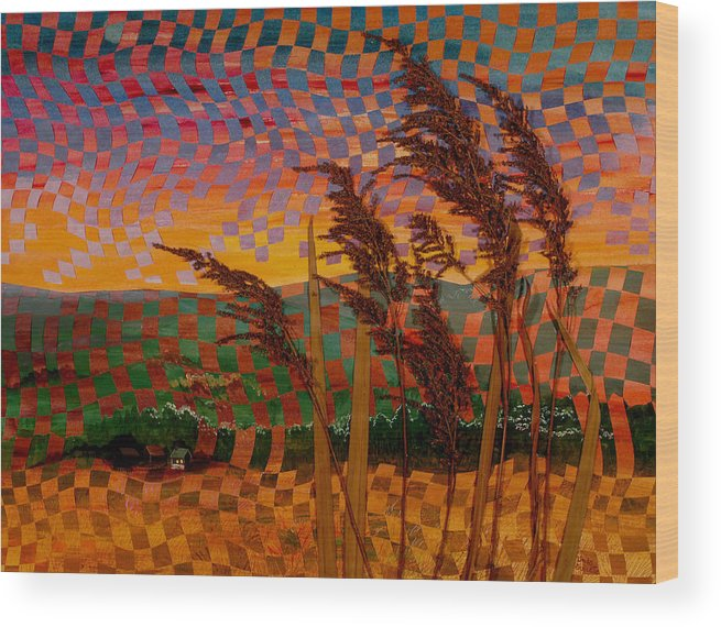 Landscape Wood Print featuring the painting Valley Sunset by Linda L Doucette