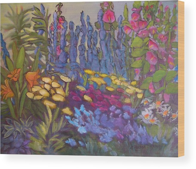 Oil Painting Wood Print featuring the painting Vic Park Garden by Carol Hama Chang