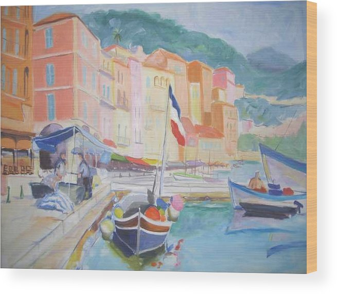 Oil Wood Print featuring the painting Ville Franche Boat by Pixie Glore