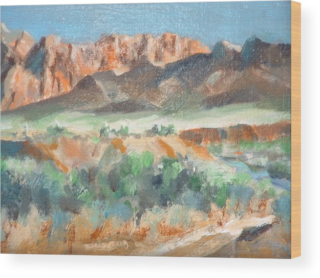 Landscape At First Light Virgin River Gorge Mesquite Wood Print featuring the painting Virgin River Gorge by Bryan Alexander