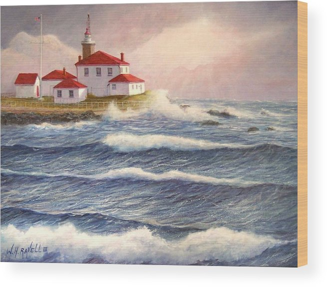 Seascape Wood Print featuring the painting Watch Hill Lighthouse In Breaking Sun by William H RaVell III