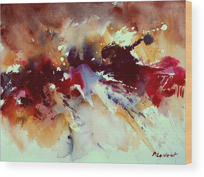 Abstract Wood Print featuring the painting Watercolor 301107 by Pol Ledent