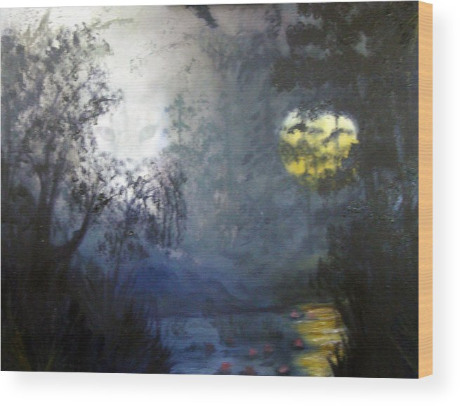 Swamp Wood Print featuring the painting Where Are We To Go by Darlene Green