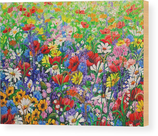 Wild Flowers Wood Print featuring the painting Wild Flower Meadow by Karin Dawn Kelshall- Best