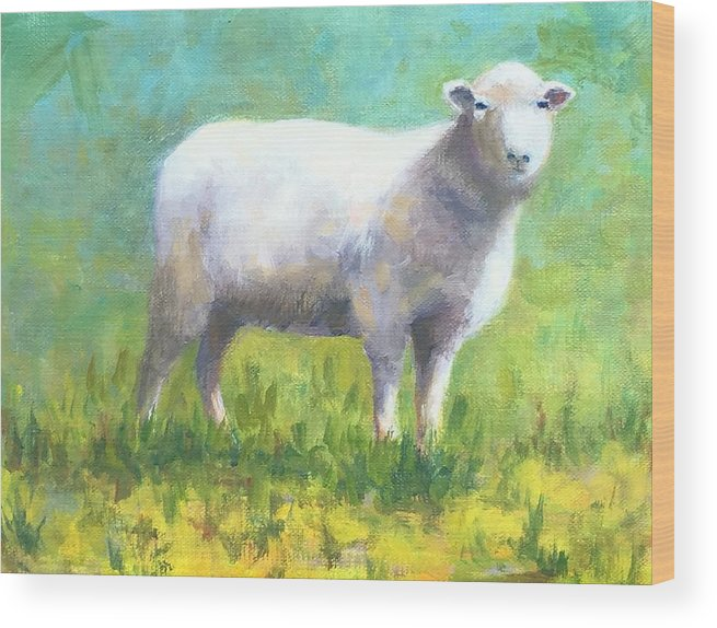 Wool Wood Print featuring the painting Woolly by Barrett Edwards