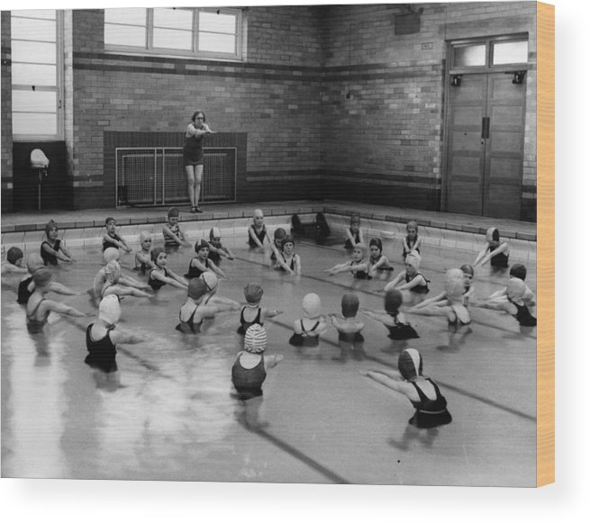 Crowd Wood Print featuring the photograph Swimming Lesson by Fox Photos