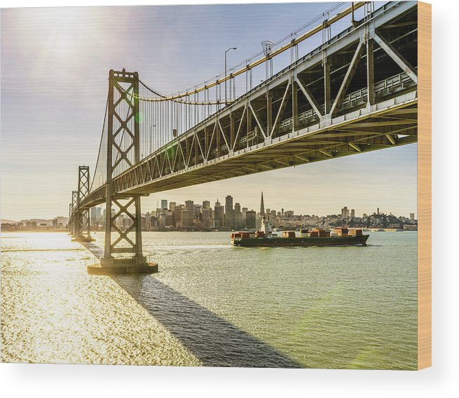 Scenics Wood Print featuring the photograph Bay Bridge And Skyline Of San Francisco by Chinaface