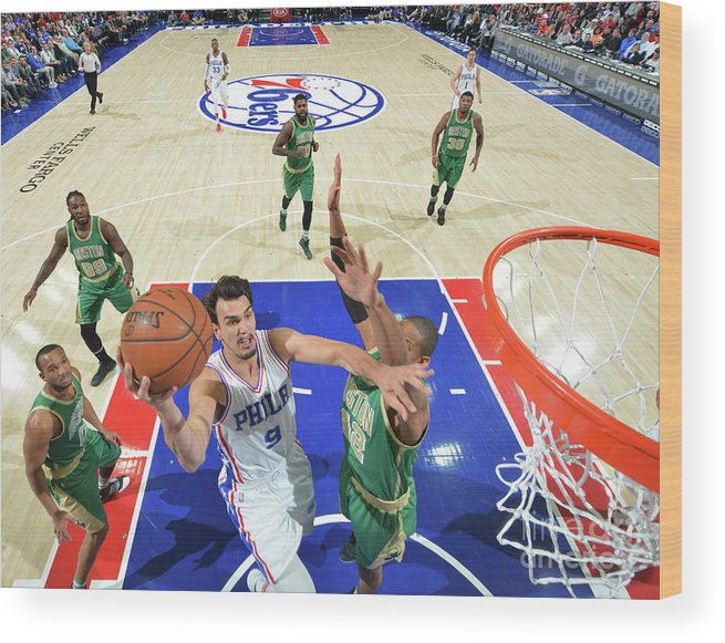 Nba Pro Basketball Wood Print featuring the photograph Philadelphia 76ers V Boston Celtics by Jesse D. Garrabrant