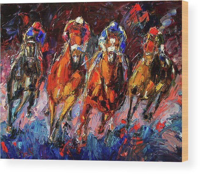 Horse Race Wood Print featuring the painting Adrenalin by Debra Hurd