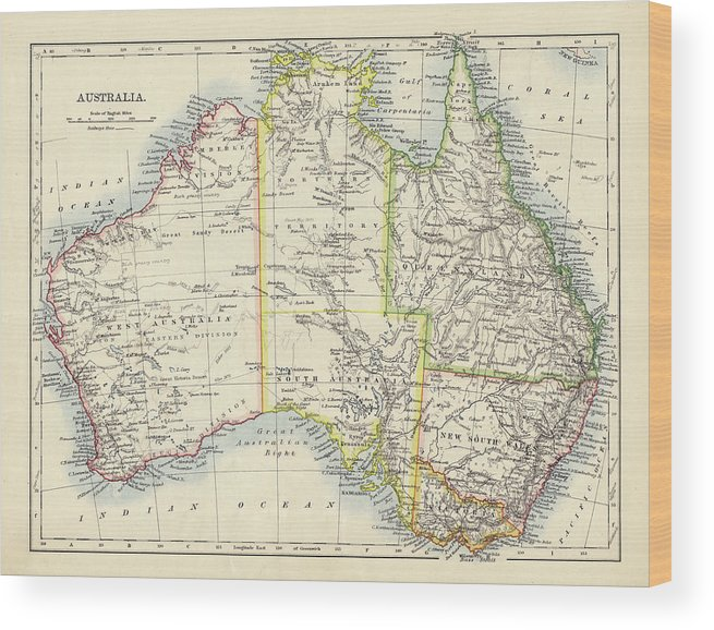 19th Century Style Wood Print featuring the photograph Antique Map Of Australia by Nicholas Free