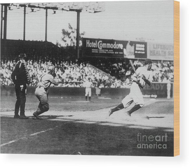 American League Baseball Wood Print featuring the photograph Babe Ruth Smashing 1920 by Transcendental Graphics