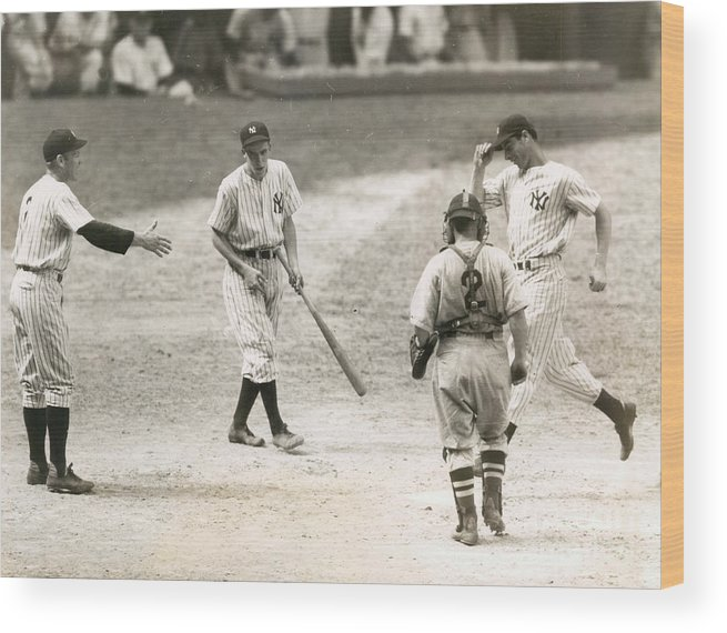 Home Base Wood Print featuring the photograph Baseball Star Joe Dimaggio by Sports Studio Photos
