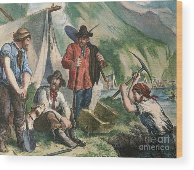 Miner Wood Print featuring the photograph California Gold Diggers Illustration by Bettmann