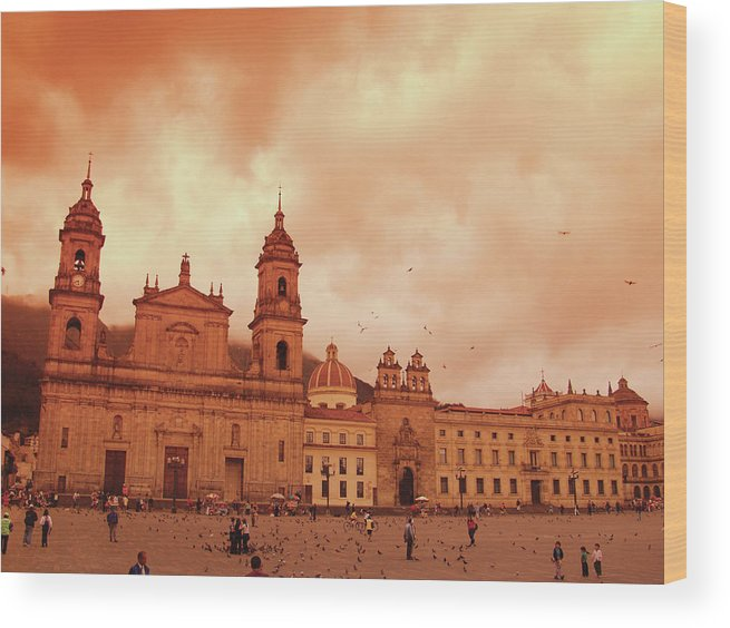 Clock Tower Wood Print featuring the photograph Cathedral In Bogota, Colombia, South by Medioimages/photodisc