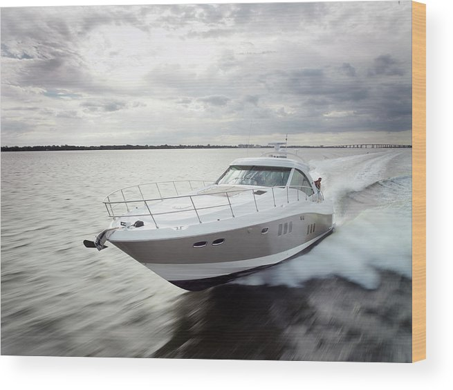 Wake Wood Print featuring the photograph Couple Relaxing On Speed Boat, Dawn by Gary John Norman