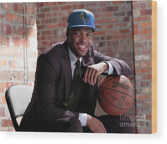 Nba Pro Basketball Wood Print featuring the photograph Dallas Mavericks Introduce Dennis Smith by Glenn James