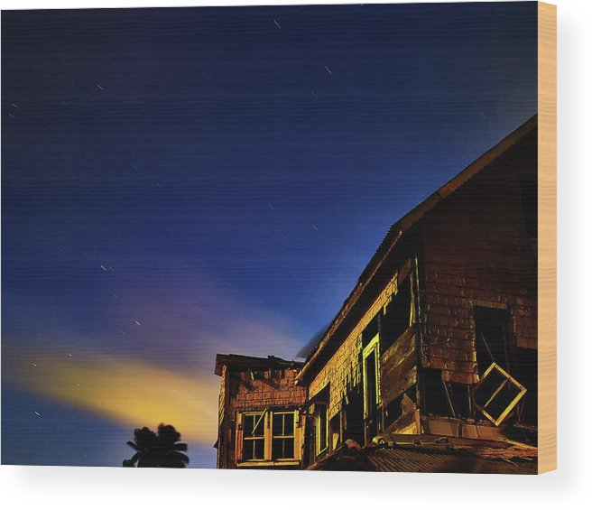 Trinidad Wood Print featuring the photograph Decaying House In The Moonlight by Trinidad Dreamscape