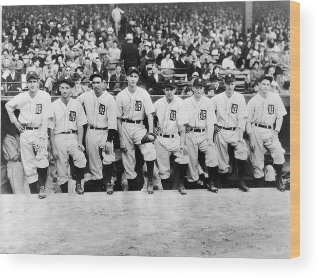 People Wood Print featuring the photograph Detroit Tigers 1935 Pitching Staff At by Fpg