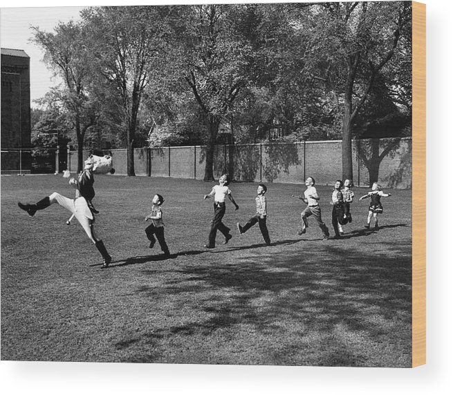 Marching Wood Print featuring the photograph Drum Major Practice by Alfred Eisenstaedt