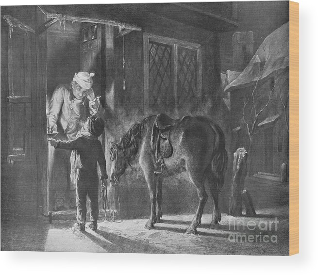 Horse Wood Print featuring the drawing Fetching The Doctor by Print Collector