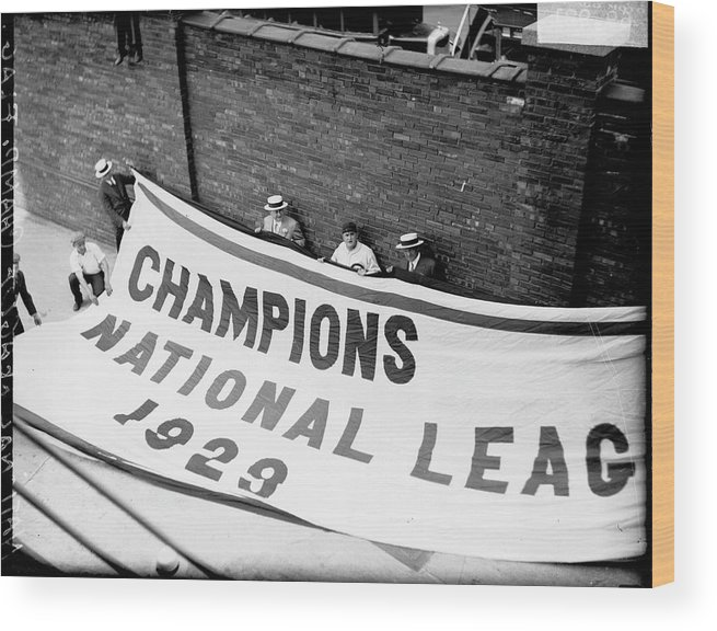People Wood Print featuring the photograph Flag Commemorating The Chicago Cubs by Chicago History Museum