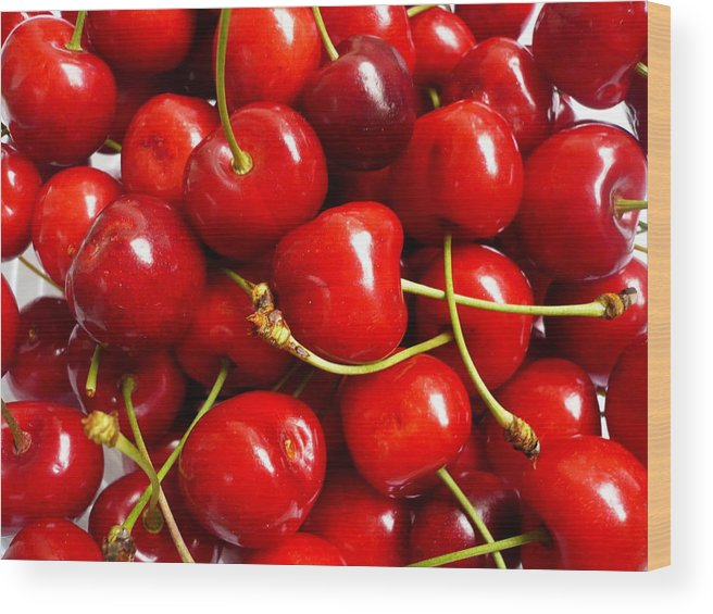 Cherry Wood Print featuring the photograph Fresh Red Cherries by Vienna Mornings
