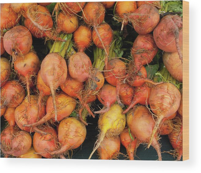 Orange Color Wood Print featuring the photograph Golden Beets At A Farmers Market by Bill Boch