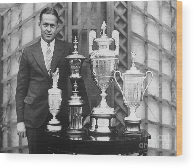 People Wood Print featuring the photograph Golfer Bobby Jones With Golf Trophies by Bettmann