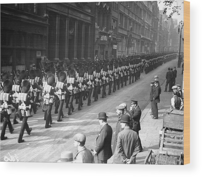 Marching Wood Print featuring the photograph Guards In City by Fox Photos