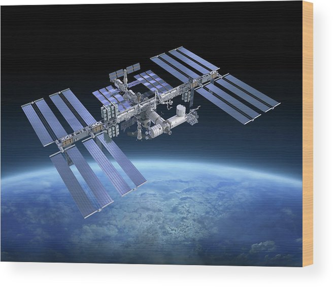 Solar Power Station Wood Print featuring the photograph International Space Station Iss by Scibak