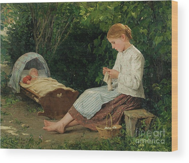 Toddler Wood Print featuring the drawing Knitting Girl Watching The Toddler by Heritage Images