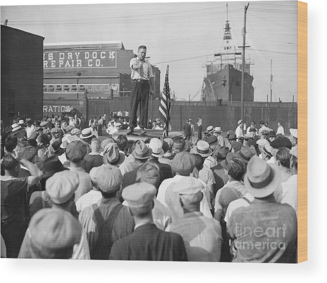 Employment And Labor Wood Print featuring the photograph Labor Organizer Addressing Open Meeting by Bettmann