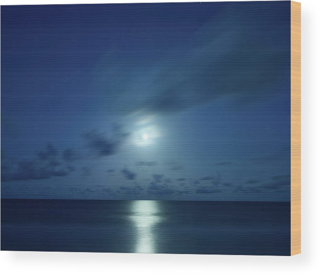 Trinidad Wood Print featuring the photograph Moonrise Over The Sea by Trinidad Dreamscape