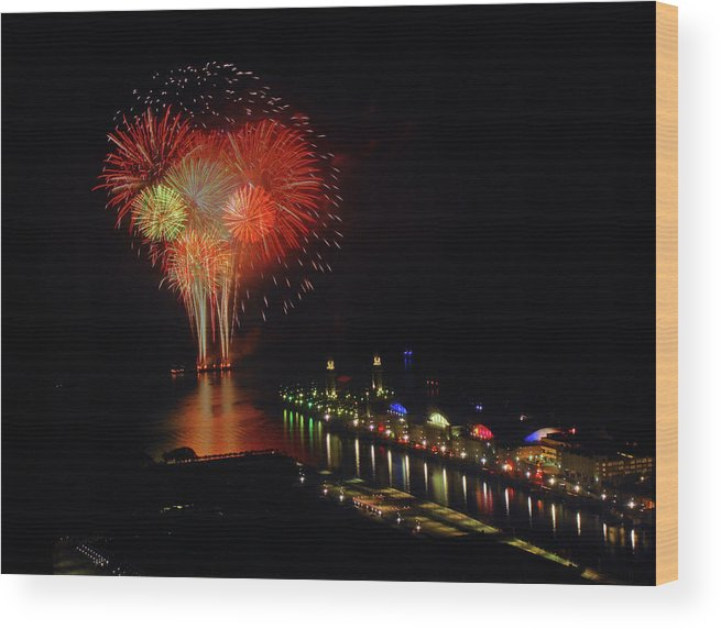 Firework Display Wood Print featuring the photograph Navy Pier Fireworks by Image By Douglas R. Siefken