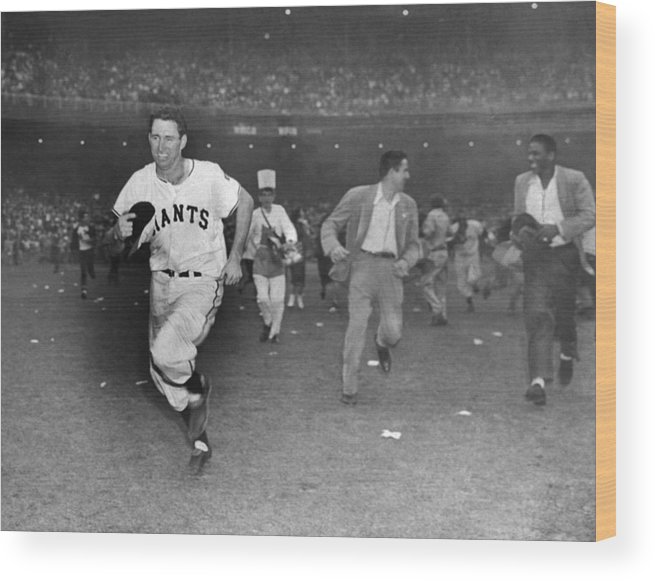 Sport Wood Print featuring the photograph New York Giants Captain Alvin Dark Runs by New York Daily News Archive