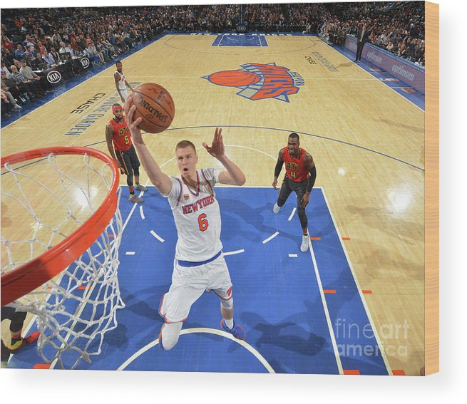 Nba Pro Basketball Wood Print featuring the photograph New York Knicks V Atlanta Hawks by Jesse D. Garrabrant