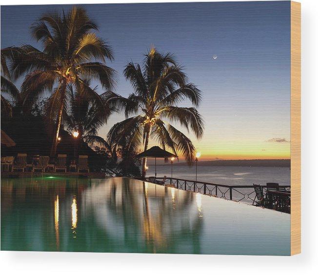 Swimming Pool Wood Print featuring the photograph Nightfall At Iririki Island, Vanuatu by Holgs