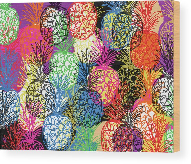 Pineapple Wood Print featuring the mixed media Pineapple Party- Art by Linda Woods by Linda Woods