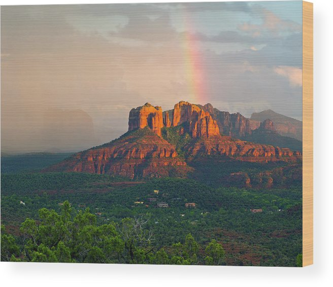 Scenics Wood Print featuring the photograph Rainbow Over Arizona Scenery by Dougberry