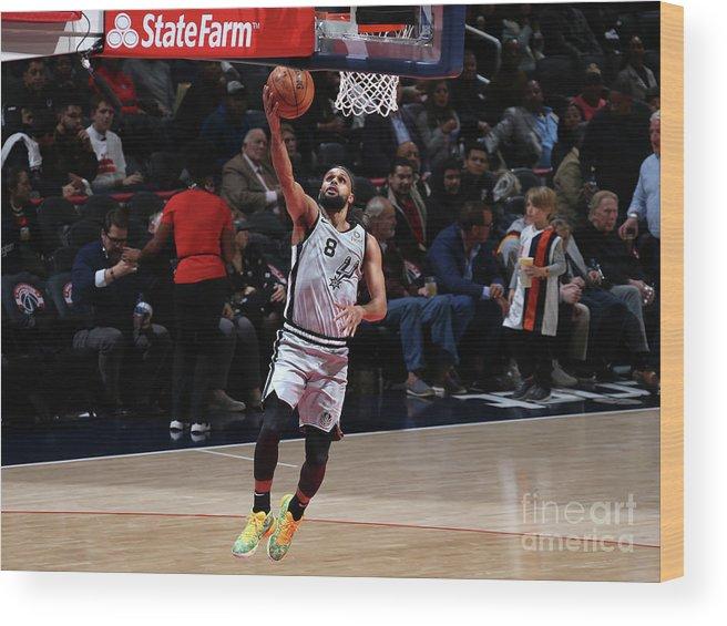 Nba Pro Basketball Wood Print featuring the photograph San Antonio Spurs V Washington Wizards by Stephen Gosling