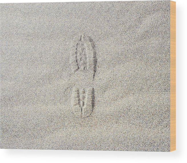California Wood Print featuring the photograph Shoe Print In Sand by Thomas Northcut