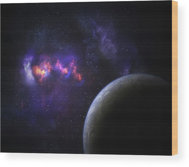 Orange Color Wood Print featuring the photograph Space Planet by Sololos