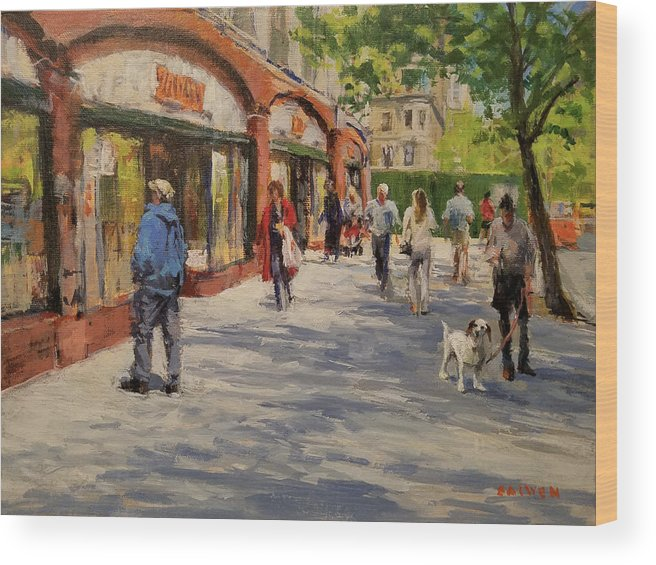 Urban Landscape Wood Print featuring the painting Spring Morning Near Zabar's by Peter Salwen