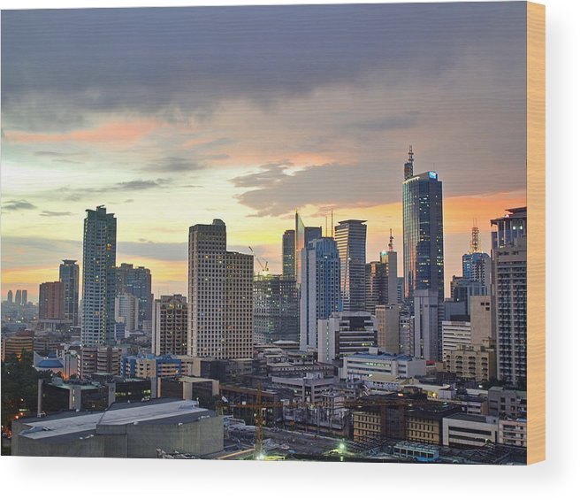 Outdoors Wood Print featuring the photograph Sunset Over Makati City, Manila by Neil Howard