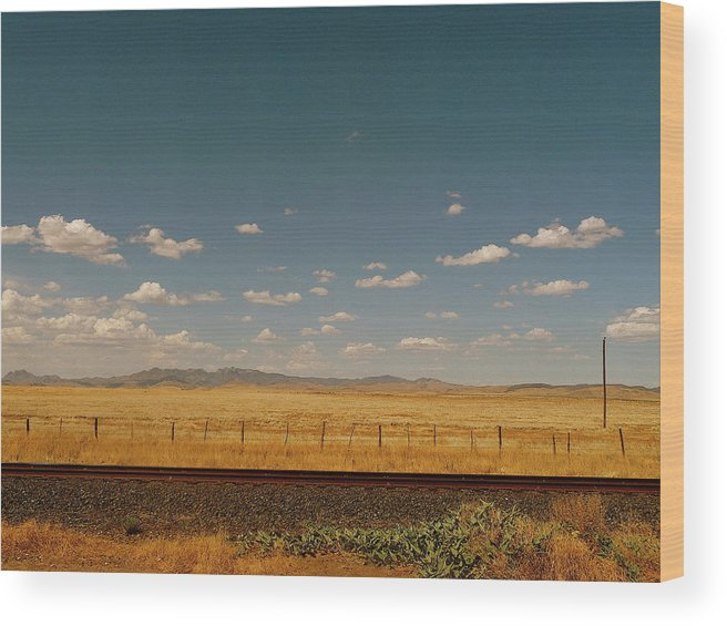 Tranquility Wood Print featuring the photograph Texan Desert Landscape And Rail Tracks by Papilio