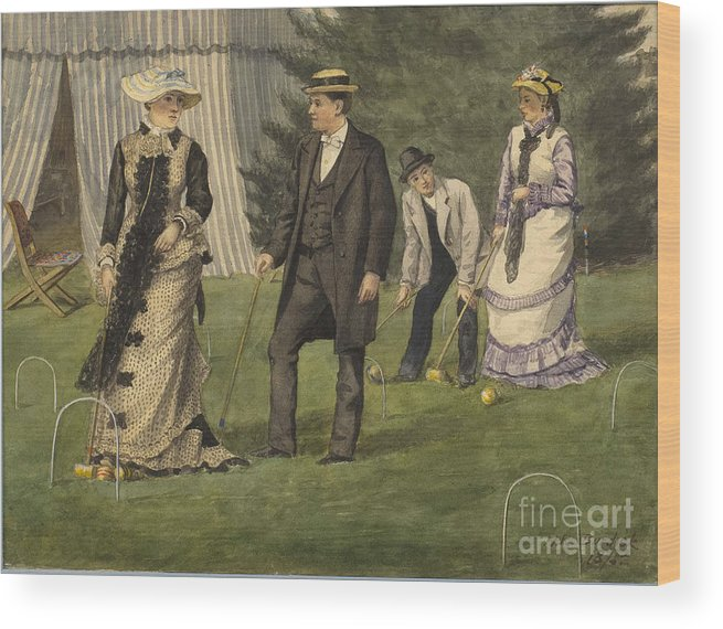 Painted Image Wood Print featuring the drawing The Croquet Game by Heritage Images